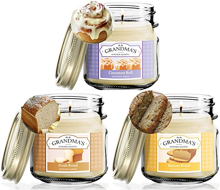 Cinnamon Roll, Fresh Bread, Banana Nut Bread Scented Candles for Home Gift Set | Non Toxic Long Lasting Soy Candles | Delicious Scents | 8 oz Mason Jars | Hand Made in The USA