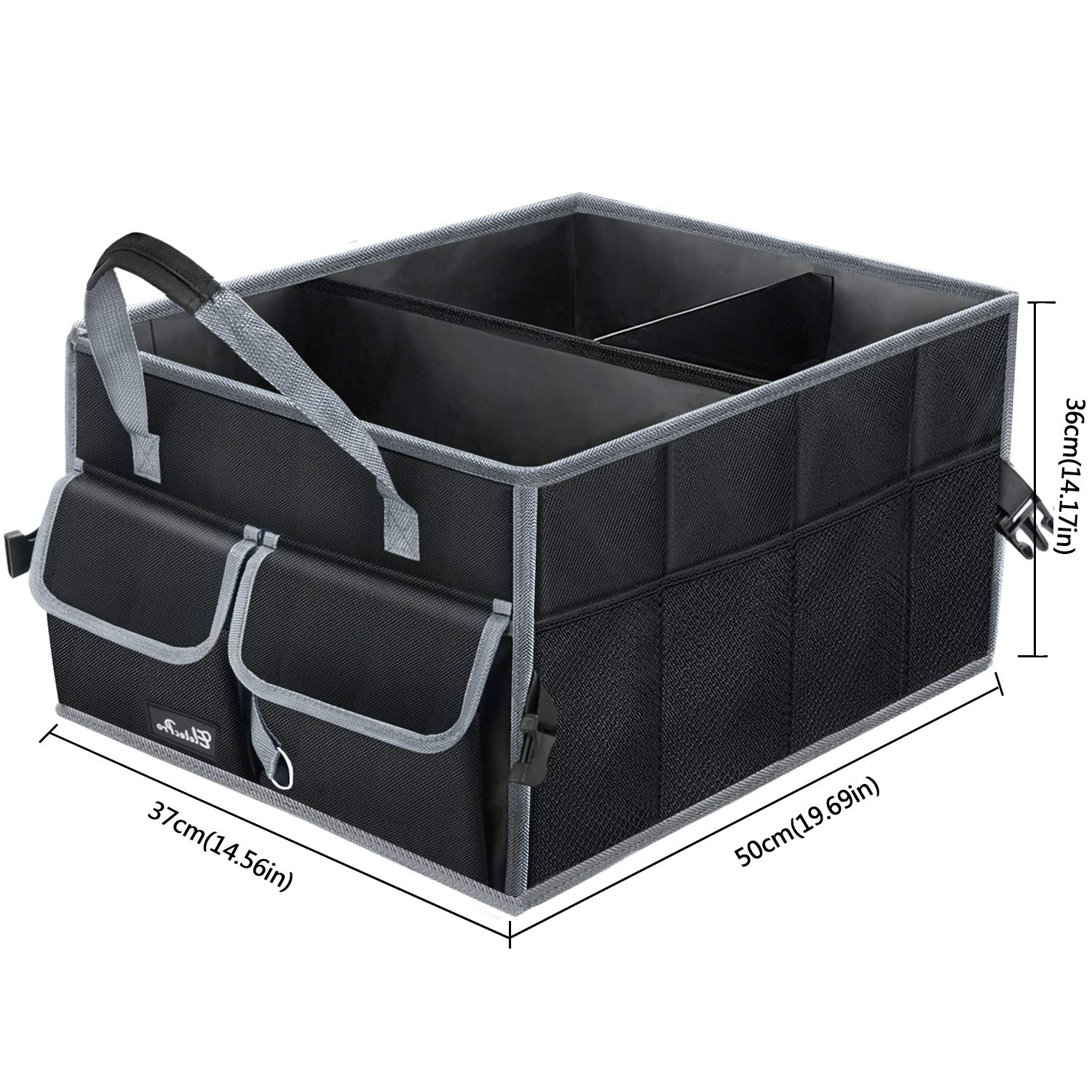 Minivan Truck /& Indoor Uses Car Boot Organizer,EletecPro Car Boot Bag Waterproof Foldable 2 in 1 Collapsible Storage Box With Straps For Car SUV