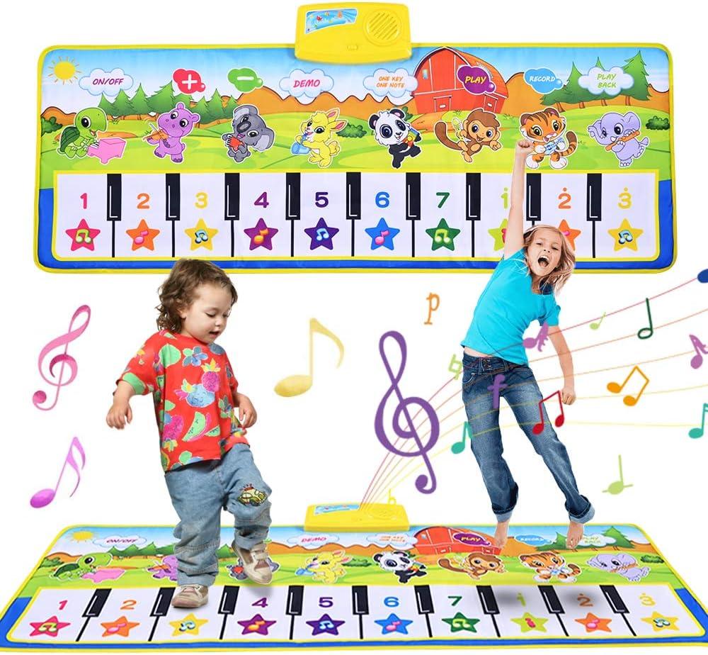Fabur Alfombra Musical para ni/ños, Alfombra de Piano de Teclado de Gimnasio Colchonetas Alfombra Animal para el Regalo del Beb/é Verde (100 * 42cm