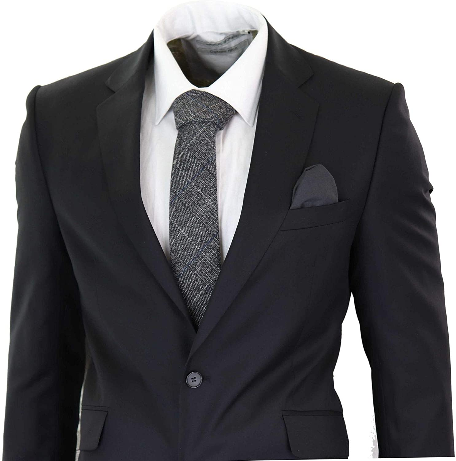 Mens Wool Suit Smart Formal Office Work 2 Button Tailored Fit Black Classic
