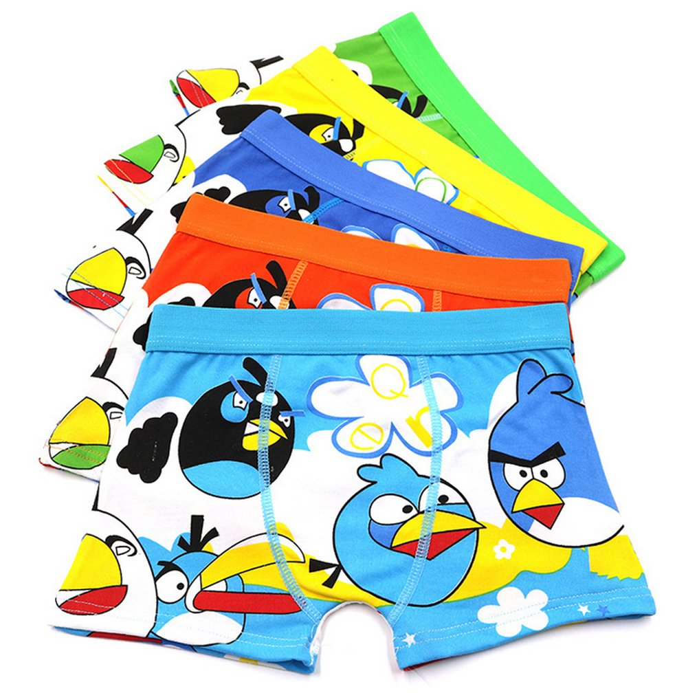 2-8 Years Old Boys Angry Birds Boxer Briefs Cotton Underwear For Toddler 5 Pack