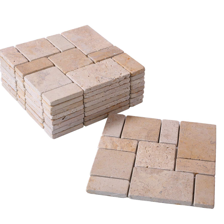 BodenMax/® Travertine TPA-CLP mediterran Naturstein Mosaik f/ür Innen und Au/ßenwand oder Boden cremefarben beige