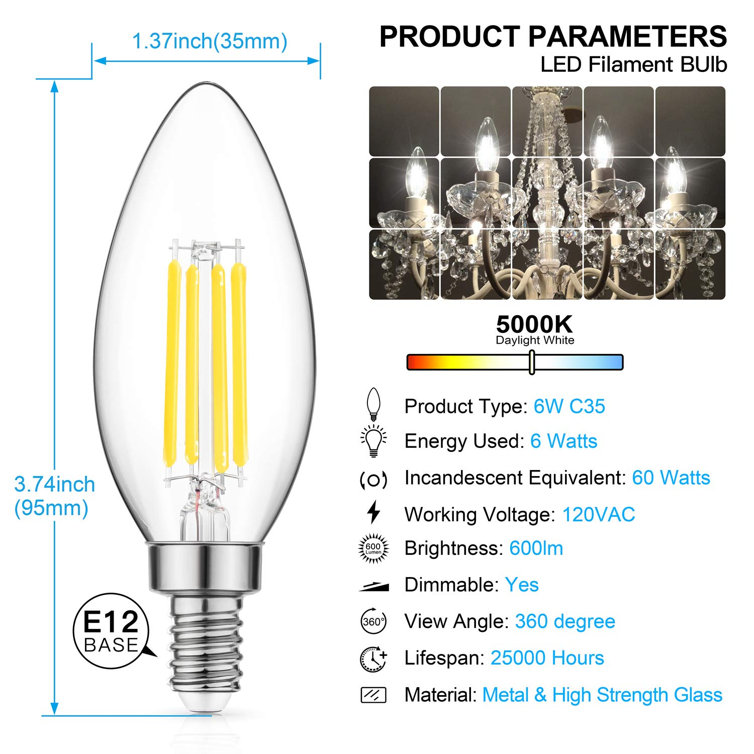 Dimmable LED Candelabra Bulb 60W Equivalent, 5000K Daylight White, 6W Chandelier LED Filament Light Bulbs 600Lumens, E12 Base, B11 Decorative Candle Bulb Pack of 12 by MAXvolador (Image #4)