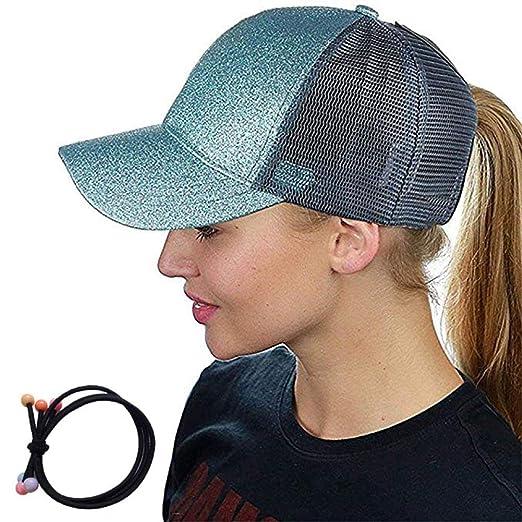 695d50e508ac7 Zinuo Ponycap Messy High Bun Ponytail Adjustable Glitter Mesh Trucker Baseball  Cap (Blue)