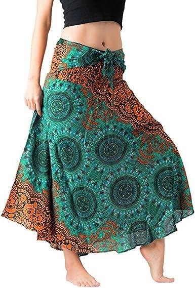 Women Boho Hippie Floral Chiffon Irregular Long Maxi Skirt Summer Beach Dress UK