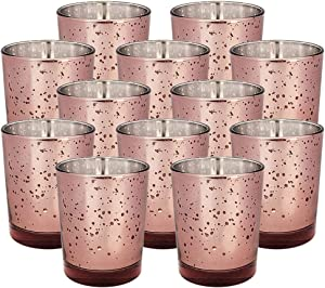 Just Artifacts Mercury Glass Votive Candle Holders 2.75-Inch Speckled Marsala (Set of 12) - Mercury Glass Votive Candle Holders for Weddings and Home Décor