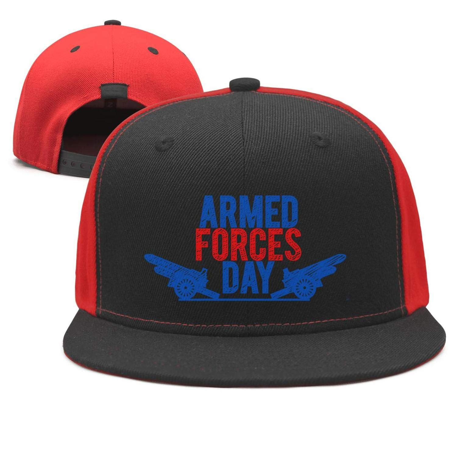 CHANO Armed Forces Day Vector red Blue Unisex Snapback Hat for Mens Womens Mesh Summer