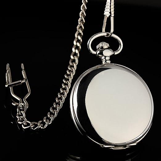 ESS para hombre suave caso color blanco números romanos de acero inoxidable moderno reloj de bolsillo con cadena WP004: ESS: Amazon.es: Relojes