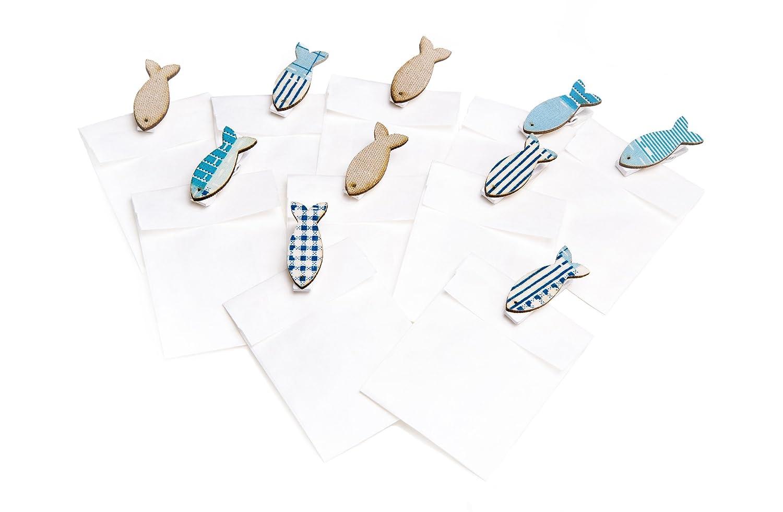 10/piccoli bianchi gastgeschenkt/üten con pesce blu Molletta in legno per come segnaposto per matrimoni compleanno comunione; Mini sacchetti regalo Dimensioni: 5,3/x 7,8/cm battesimo