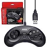 Retro-Bit Official Sega Genesis USB Controller 8-Button Arcade Pad for Sega Genesis Mini, Nintendo Switch, PC, Mac, Steam, RetroPie, Raspberry Pi - USB Port - Black