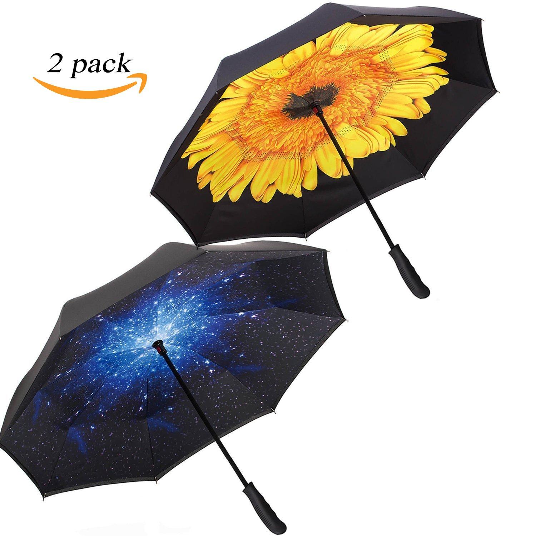 a9972b452c375 80%OFF Zameka Double Layer Inverted Umbrellas Reverse Folding Umbrella  Windproof UV Protection Big Straight