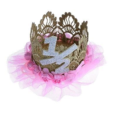 Segolike Baby Girl 1 2 Half Birthday Crown Headband Flower Party Hat