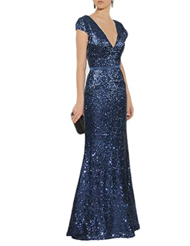 Mitchell SZ Women's V Neck Sequined Long Formal Prom Dresses Evening Gowns M005