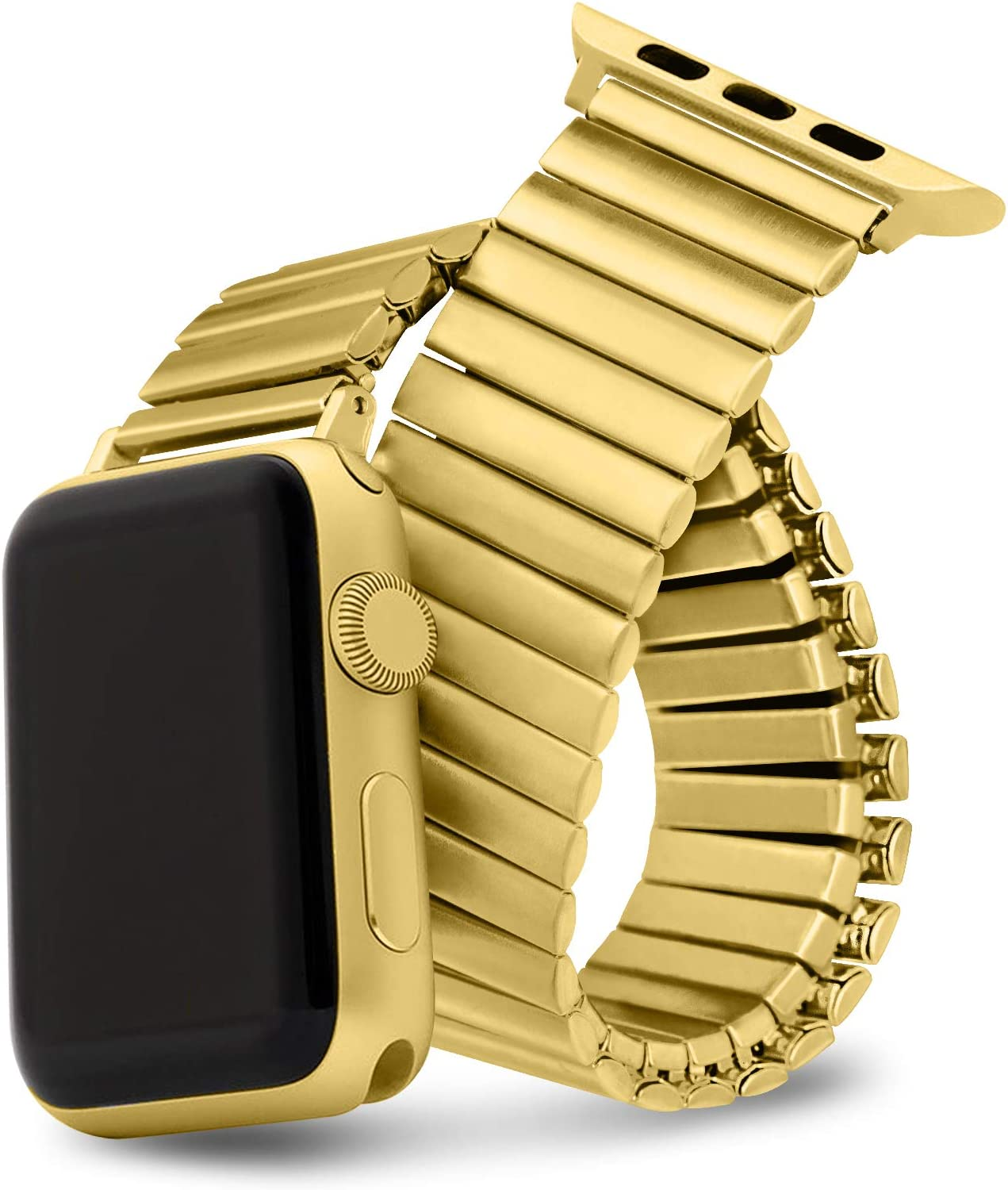 Watdpro Compatible with Apple Watch Band 42mm/44mm/38mm/40mm, Stretchables Stainless Steel Stretch Watch Band, Metal Expansion Apple Watch Band Compatible with iWatch Series 6/5/4/3/2/1/SE