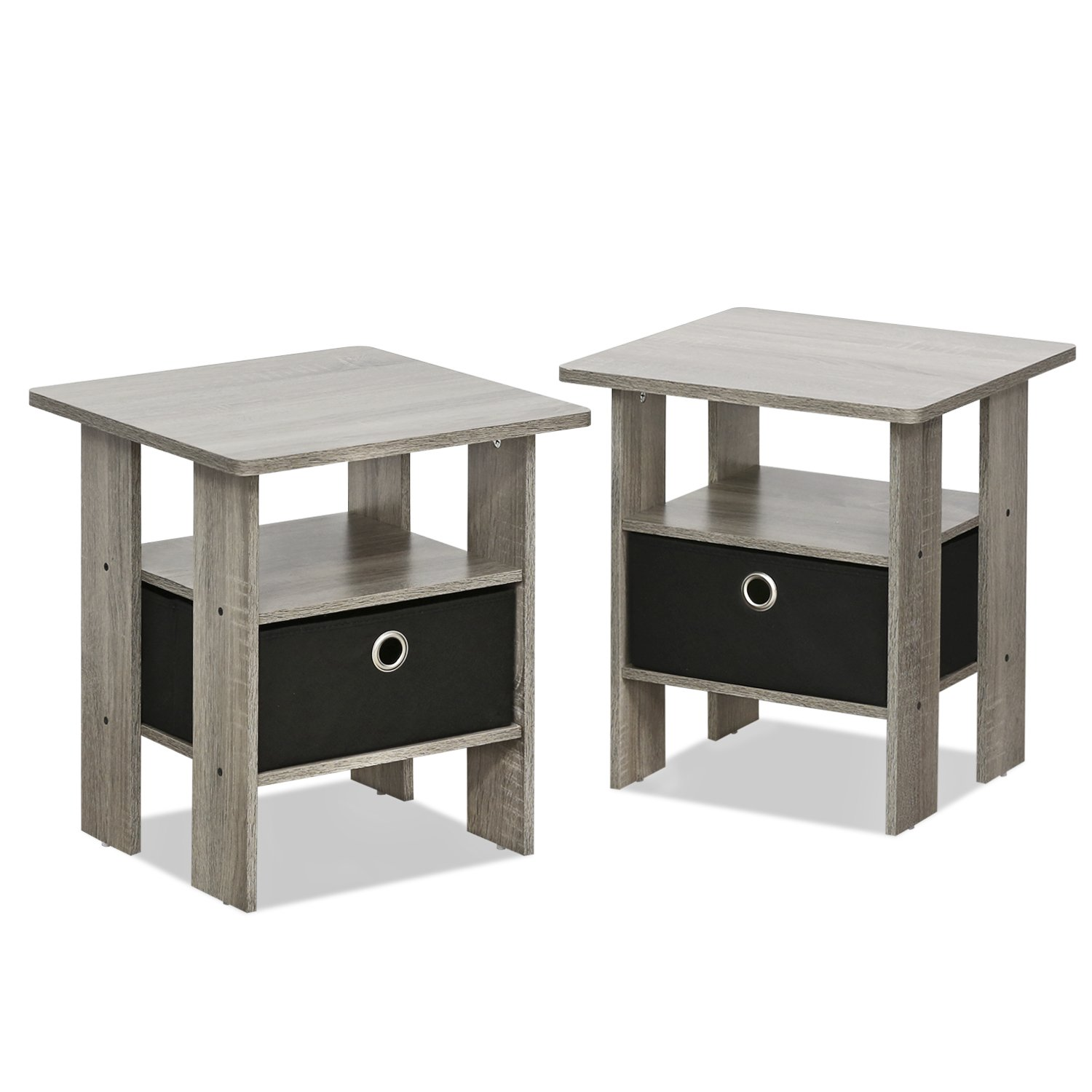 French Oak Grey Style End Tables With Black Drawers Set Of