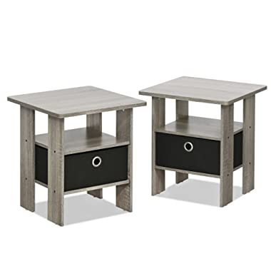 Furinno 2-11157GYW Petite Night Stand, 2 End Tables, French Oak Grey/Black