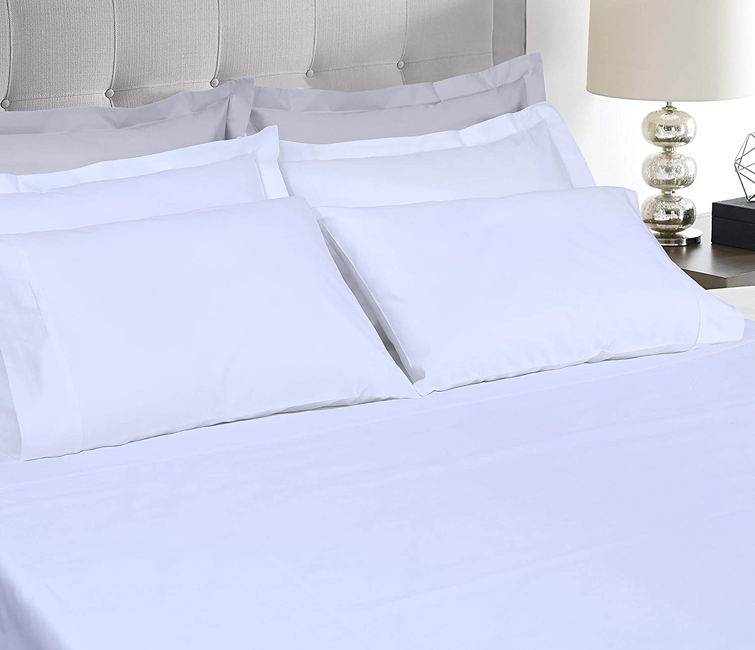 600 Thread Count Cotton Sheets White King & Cotton Blanket White King Size Combo