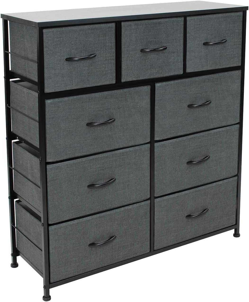 Sorbus Dresser with 9 Drawers - Furniture Storage Chest Tower Unit for Bedroom, Hallway, Closet, Office Organization - Steel Frame, Wood Top, Easy Pull Fabric Bins (9 Drawers, Black)