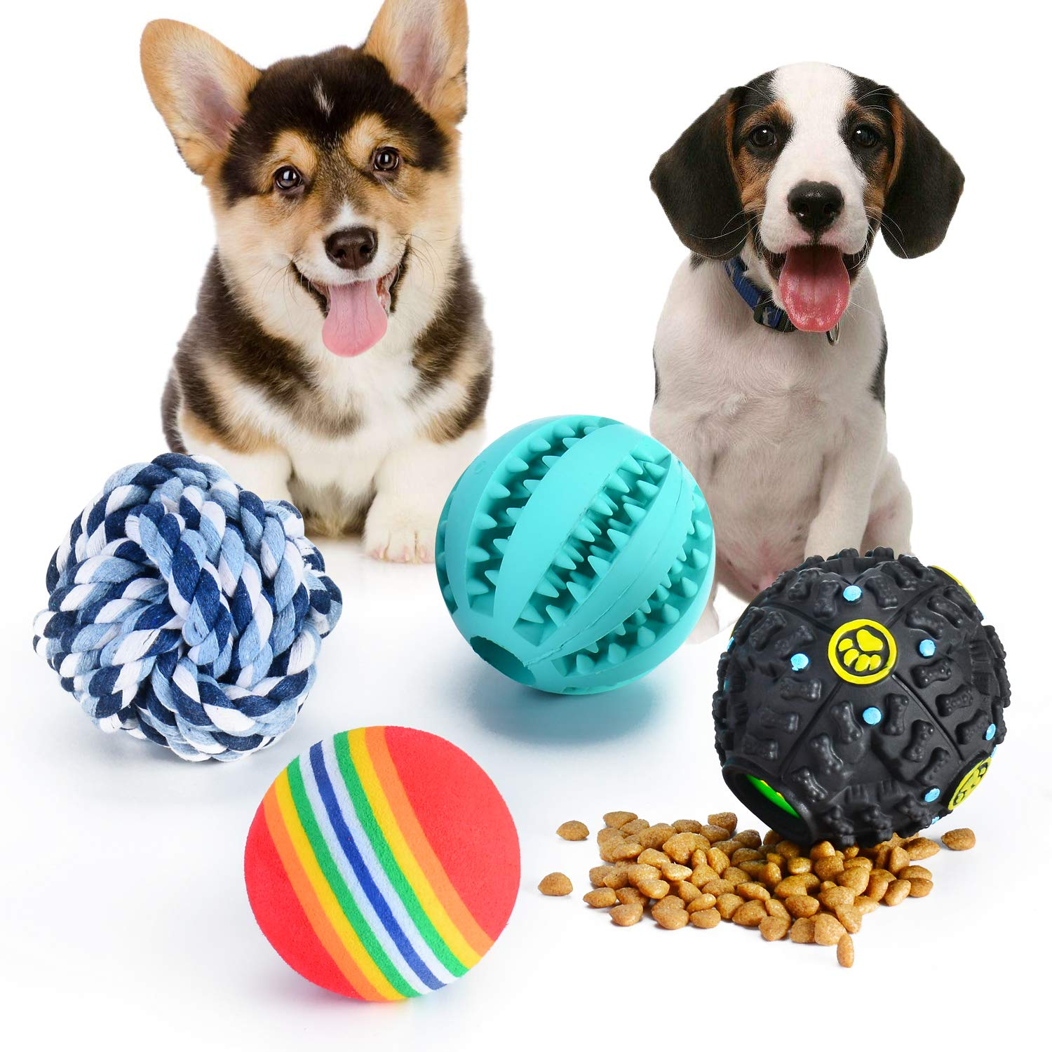 MIcion Dog Treat Dispensing Toy, Rubber Dog Chew Toy Dog Educational Toy IQ Treat Ball Squeaker, Small Medium Dogs Improve IQ Cleaning Teeth Prevent Dental Diseases (4 pack)