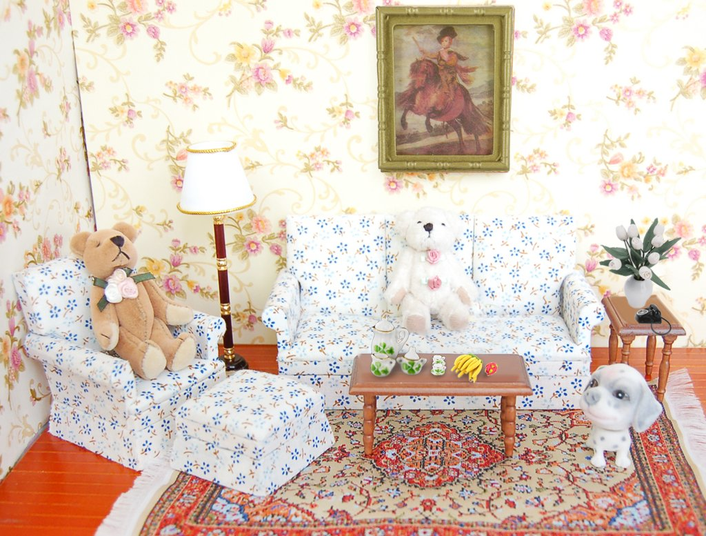 European 5pcs Flowers Printed Sofa End Table Cloth Chair 1 //12 Scale Dollhouse Furniture Drawing Room Bedroom Accessories