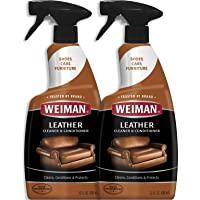 Weiman Leather Cleaner and Conditioner - 22 Ounce (2 Pack) - Non-Toxic Restores Leather Surfaces - Ultra Violet Protectants Help Prevent Cracking or Fading of Leather Furniture, Car Seats, Shoes