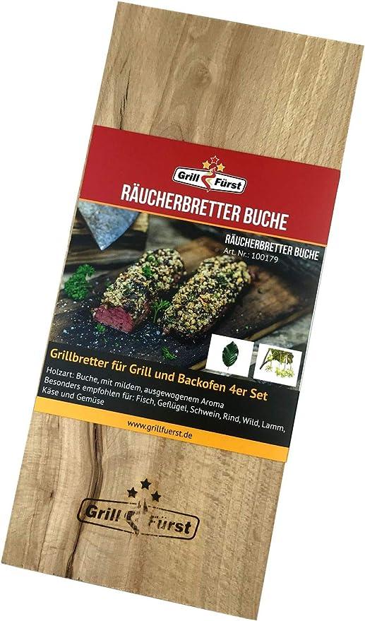 Buchen- Kirsch Grillbretter aus Ahorn- und Zedernholz Räucherbretter 4er Set