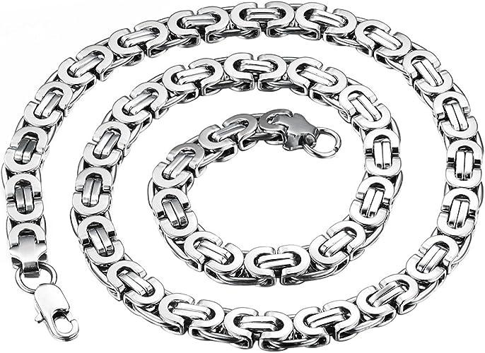 "20/""MEN Stainless Steel 4//6//9mm Silver Byzantine Box Chain Necklace Bracelet*S"