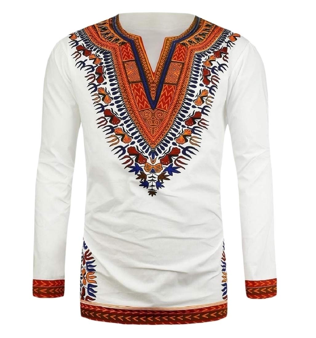 Doufine Men African Floral Folk Style V Neck Tops Slim Fitted T-shirts White S by Doufine--men clothes (Image #2)