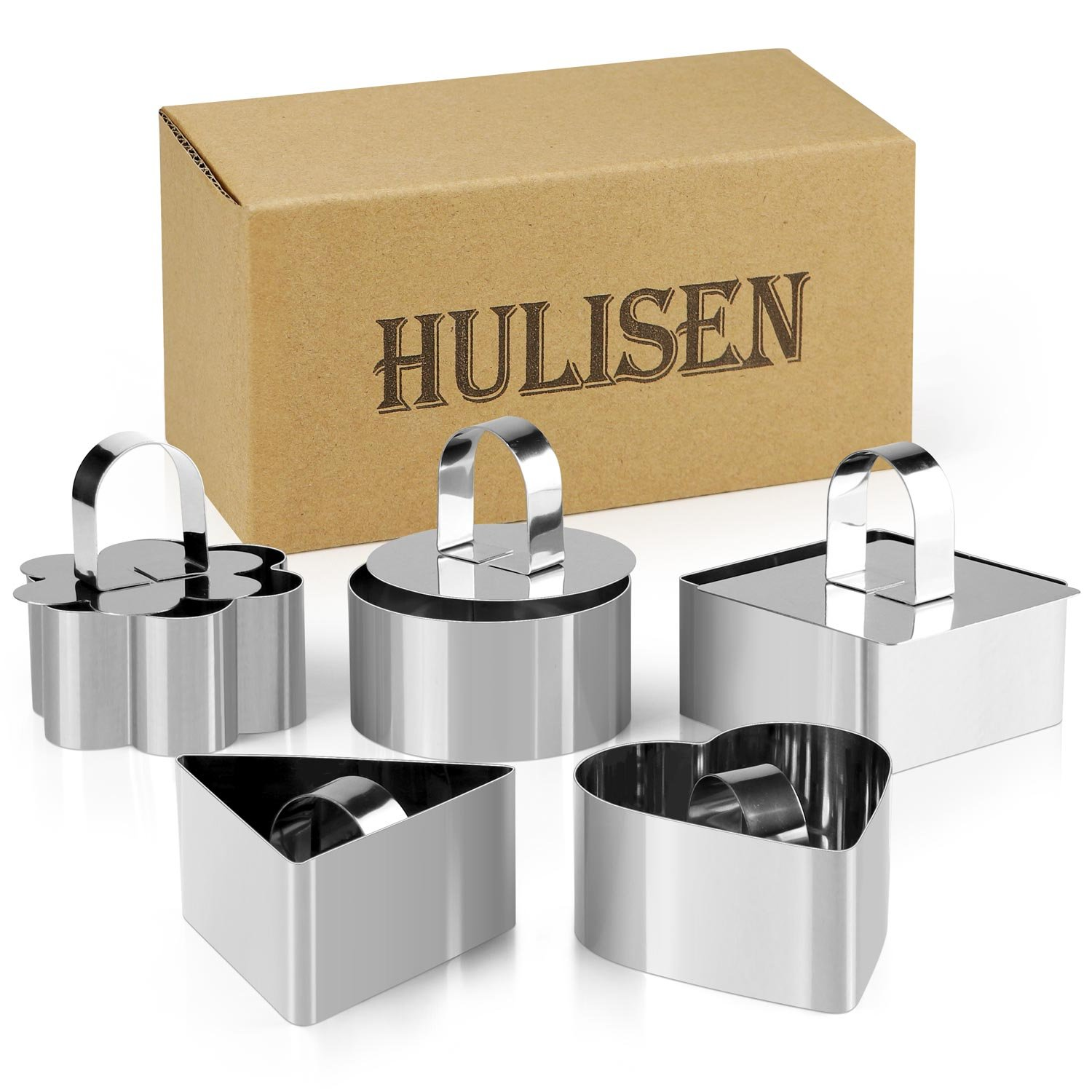 10 Pcs/Set Stainless Steel Cake Ring, HULISEN 3 x 3 inch Square Dessert Mousse Mold with Pusher & Lifter Cooking Rings 0401