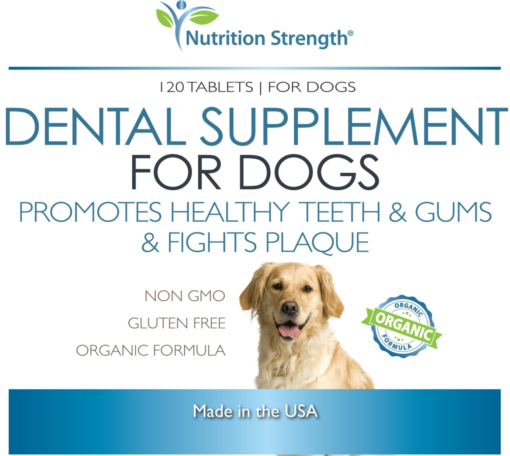 Nutrition Strength Dental Care for Dogs, Daily Supplement for Healthy Dog Gums and Teeth with All-Organic Ingredients, 120 Chewable Tablets by Nutrition Strength (Image #6)