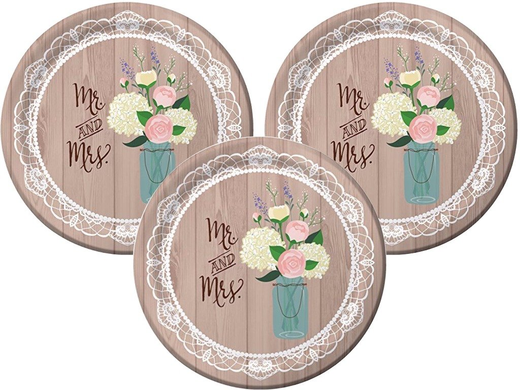 Rustic Wedding Bridal Shower Heavy Duty Banquet Dinner Plates Party Kit 24 Count
