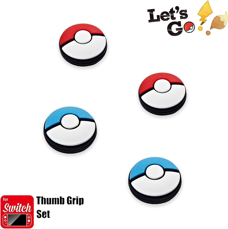 Funlab Thumb Grip Set Joystick Cap Cover Compatible con Nintendo Switch, Tapa analógica de silicona para Joy-Con controller - Rojo+Azul, 2 pares (4 piezas)