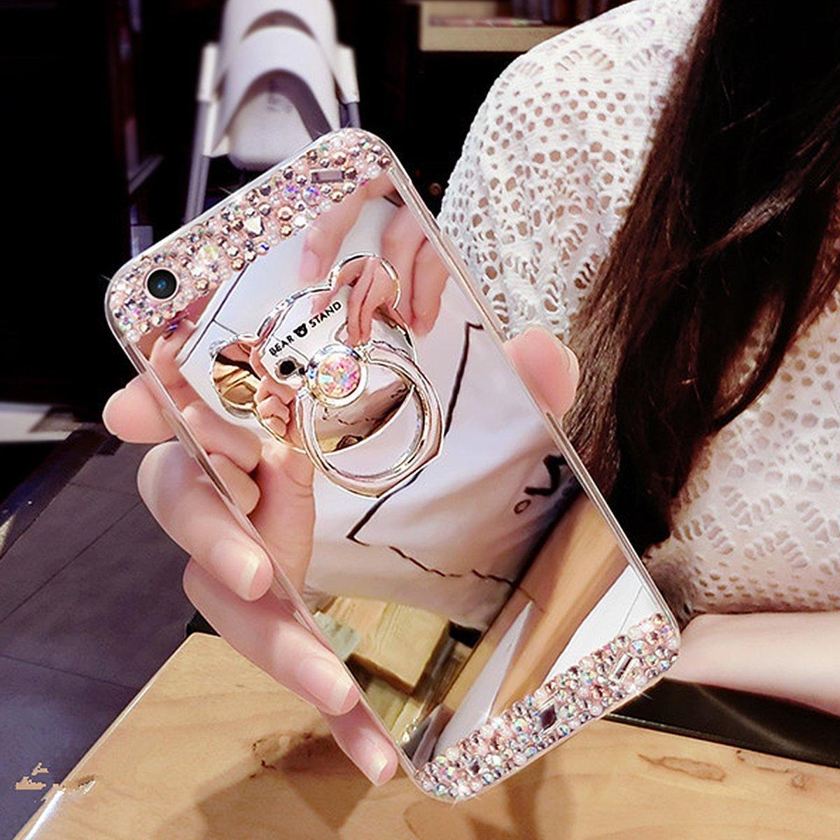 Coque iPhone 8, EINFFHO Réfléchissant Miroir Silicone Housse Étui pour iPhone 8 / 7 Cas [avec Ours Support Bague] Elegant Briller Rhinestone Diamant Glitter Bling Maquillage Placcatura Miroir Coque pour Apple iPhone 7 Etui de Téléphone Coquille de Protecti