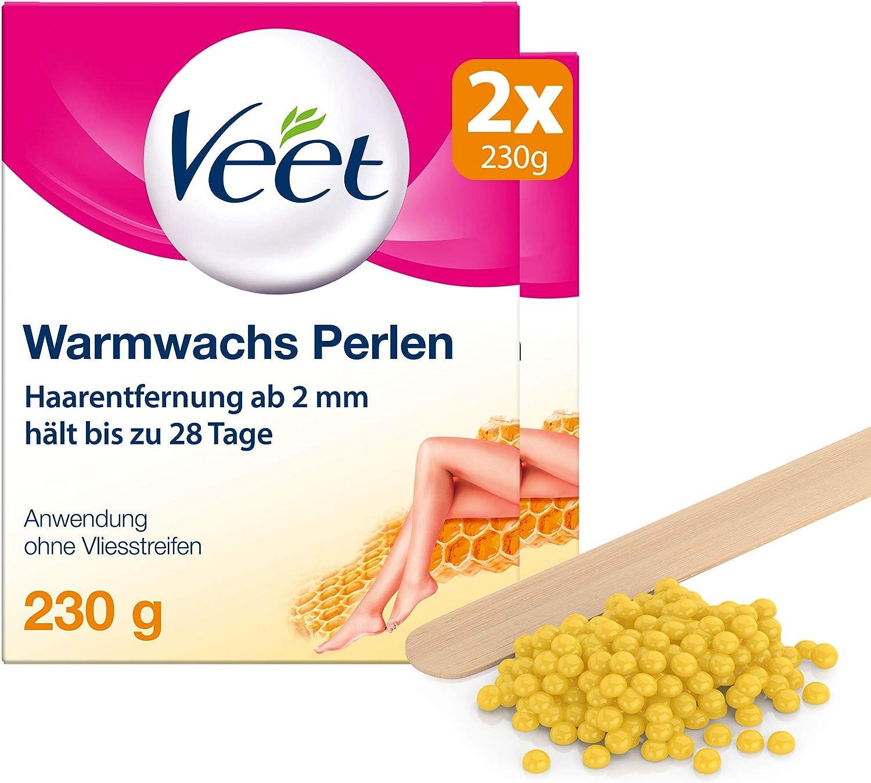 Veet - Perlas de cera caliente con cera de abeja, 2 unidades (2 x 230 g)