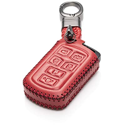 Vitodeco Genuine Leather Smart Key Keyless Remote Entry Fob Case Cover with Key Chain for 2011-2020 Toyota Sienna (6 Buttons, Red): Automotive