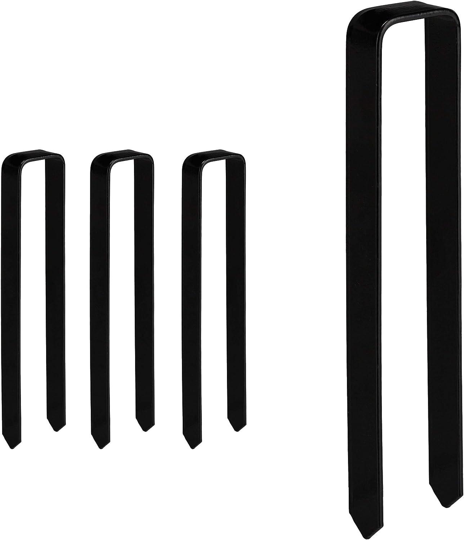 schwarz Befestigung Rosenbogen gro/ß Relaxdays Erdanker 4 St/ück XXL U-Form Stahl Bodenanker HBT: 30 x 6,5 x 2,5 cm