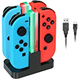 Nintendo Switch Joy-Con Charging Dock KINGTOP 4 in 1 Joy-Con Charger Station with Individual LEDs indication