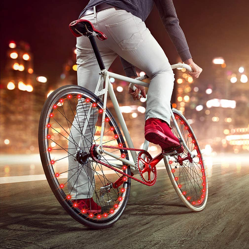 LED Spoke One Tire Light Super Bright Waterproof Cycling Bicycle Light Decoration Ultra Bright from All Angles Tire Strip Light for Kids Adults CDYKLCB Bike Wheel Lights