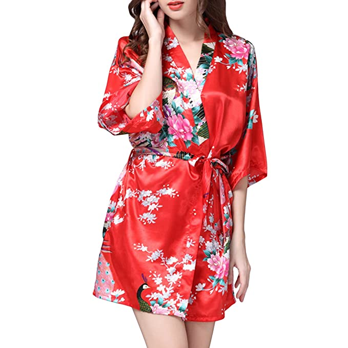 Sidiou Group Women\'s Short Kimono Robes Satin Dressing Gown Night ...