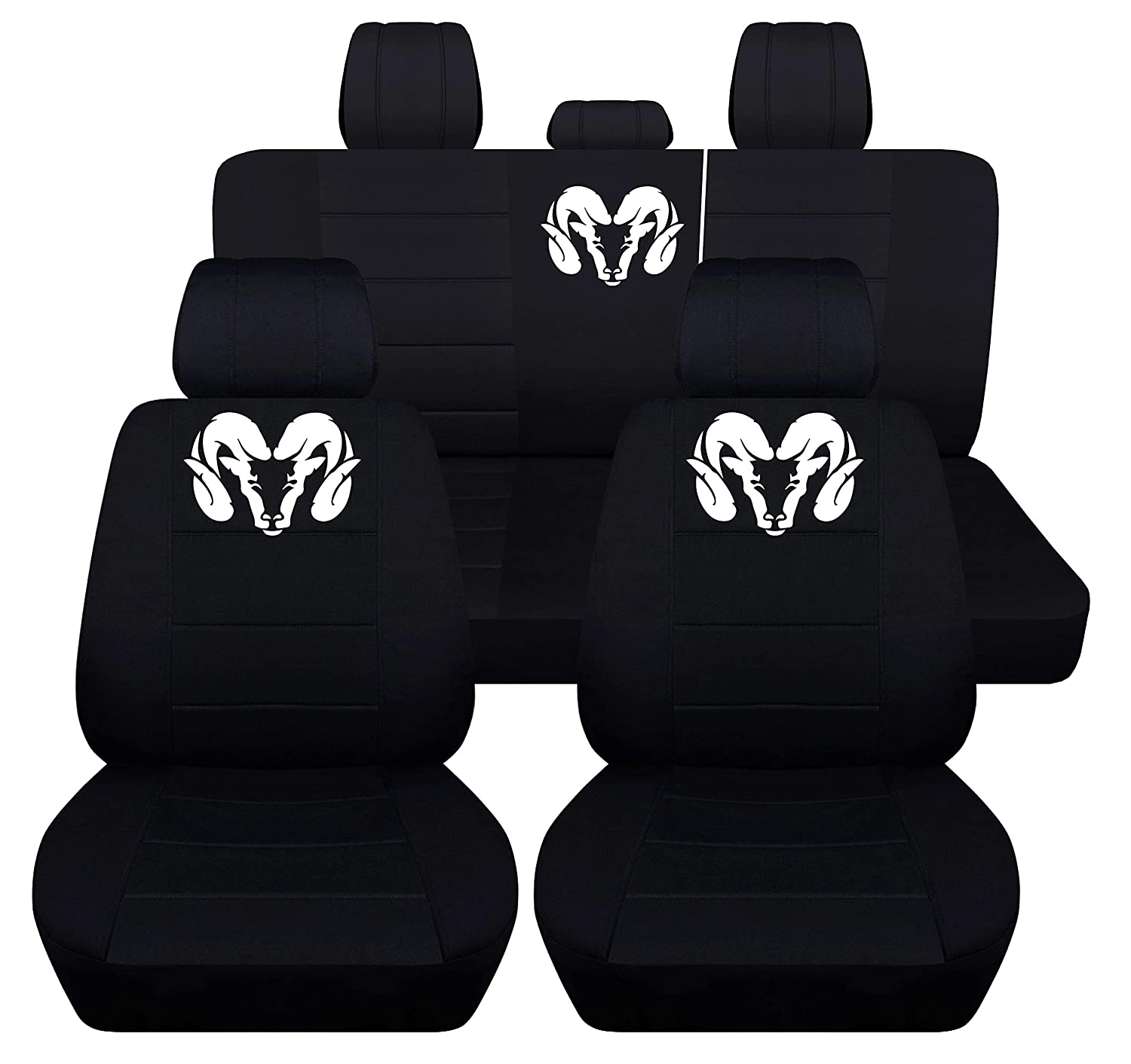 Fits 2012 to 2018 Dodge Ram Front and Rear Ram Seat Covers 22 Color Options (40-60 Rear with Armest, Black Charcoal) Designcovers