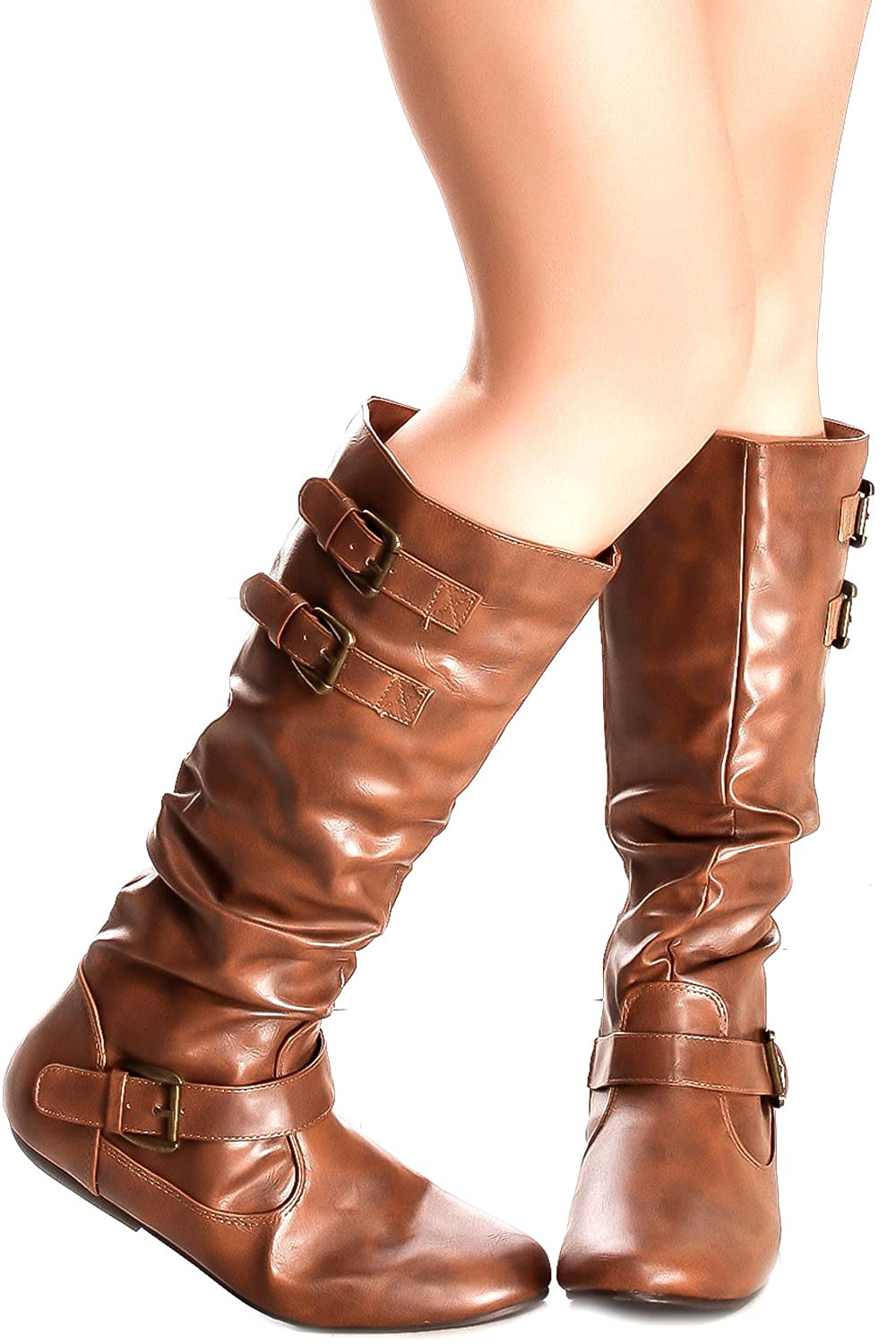 Deluxe Adult Costumes - Assassin's Creed Fashion Casual Buckle Strap Design Zipper Tan-Tamika Faux Leather Boots