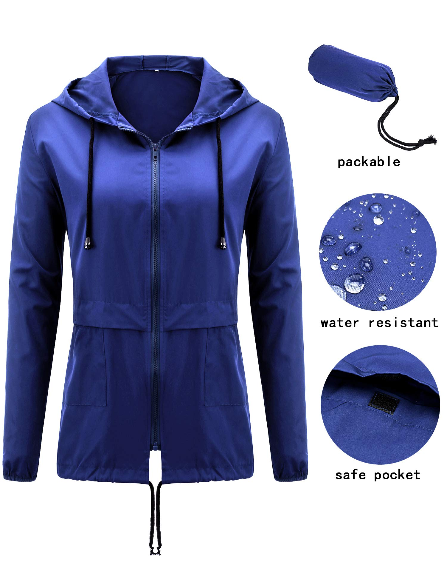 Uniboutique Womens Outdoor Raincoat Waterproof Lightweight Rain Jacket with Hood Royal Blue S