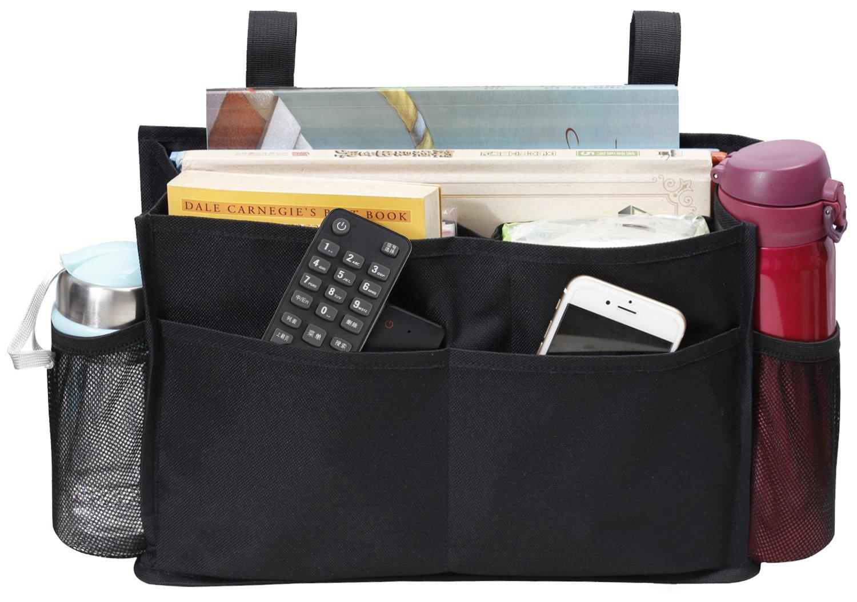 MISSLO Mini Bedside Caddy Hanging Storage Organizer for Books Tablets Magazine Phone Remotes (Black)