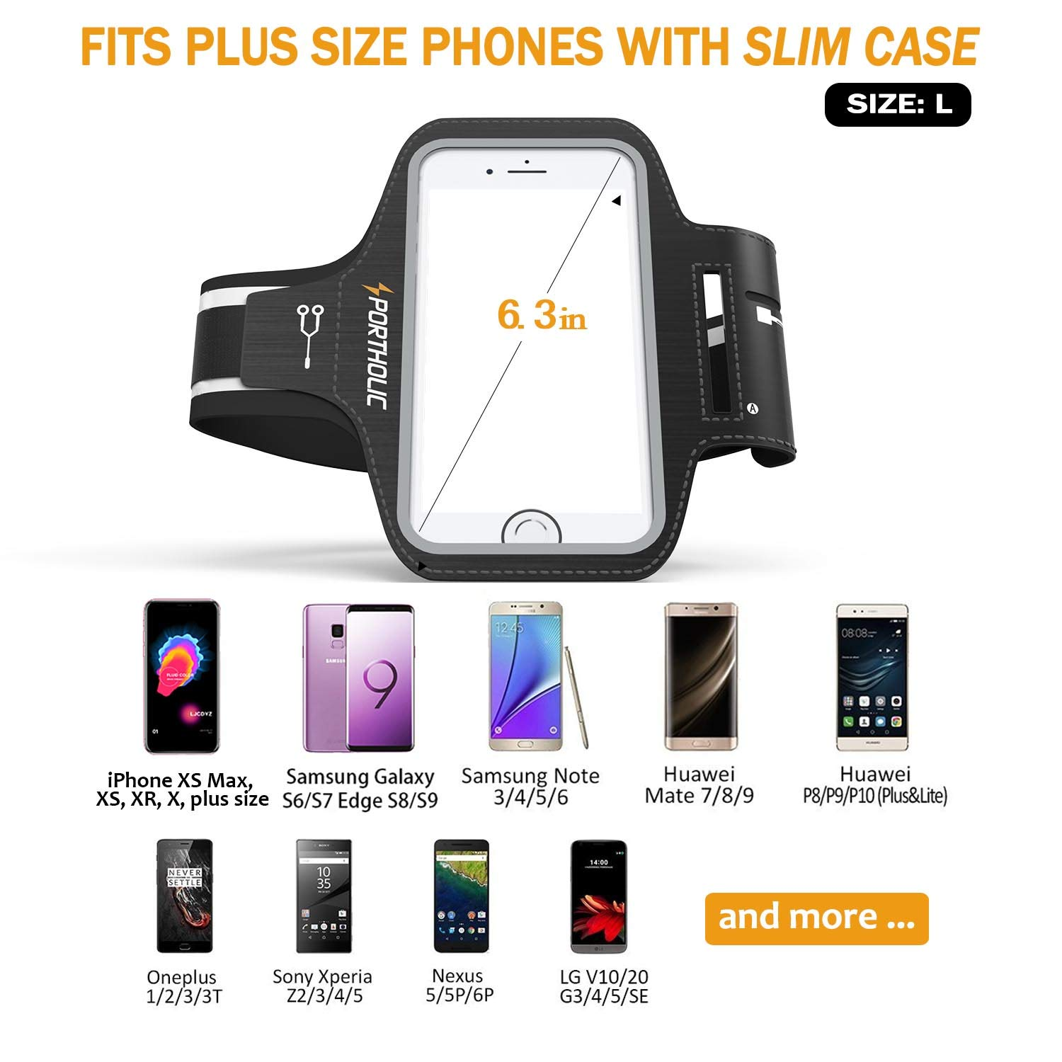 iPhone X 8 Plus 7 Plus 6/6s Plus Armband Case, PORTHOLIC Cell Phone Workout  Arm Band for Samsung Galaxy S6/S7 Edge s8/s8 Plus, LG G5, Note 2/3/4/5,