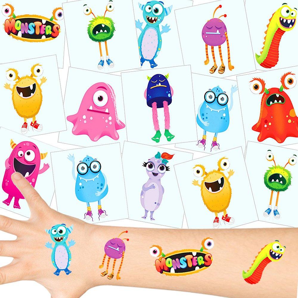 German Trendseller® 12 x tatuajes temporales monstruo┃ fiestas infantiles┃ idea de regalo┃piñata┃cumpleaños de niños┃ 12 unidades…