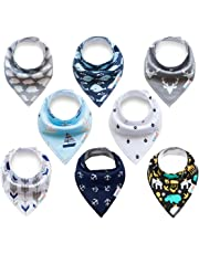 ALVABABY Baby Drool Bandana Bibs For Drooling Teething Feeding Super Absorbent 100% Cotton,Unisex Boys Girls Baby Gifts 8 Pack