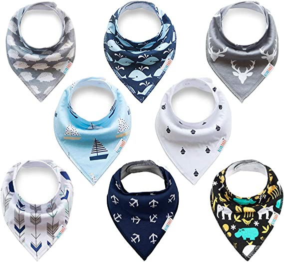 ALVABABY Baby Drool Bandana Bibs For Drooling Teething Feeding Super Absorbent 100/% Cotton,Unisex Boys Girls Baby Gifts 8 Pack