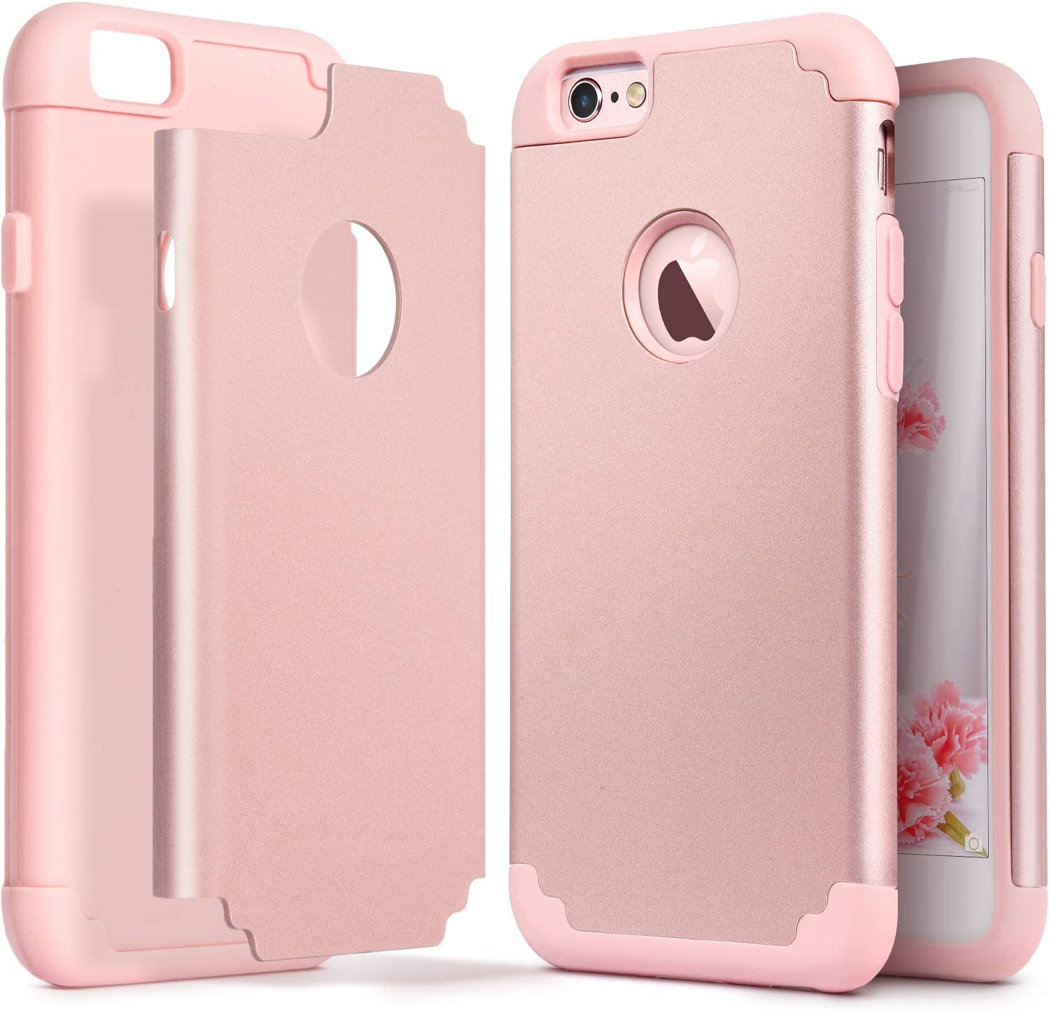 IDWELL iPhone 6S Case, iPhone 6 Case, Slim Fit [ Dual Layer Series ] Soft Silicone Hard Back Cover Bumper Protective Shock-Absorption Skid-Proof Anti-Scratch Case for iPhone 6/6S 4.7 inch, Rose Gold