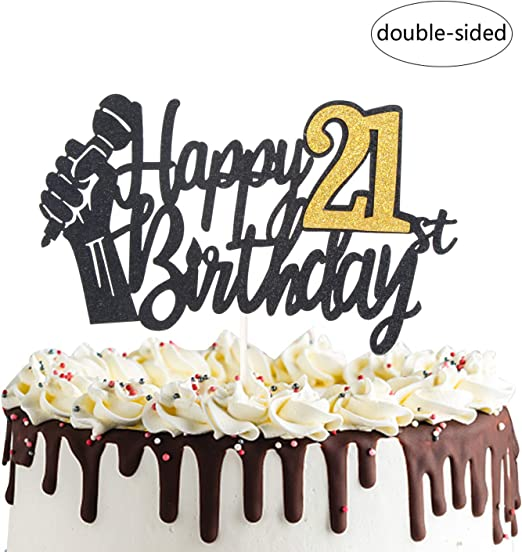 Brilliant Amazon Com Happy 21St Birthday Cake Topper With Microphone Cheers Funny Birthday Cards Online Barepcheapnameinfo