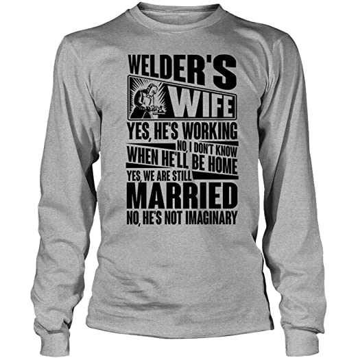 7933d053 Amazon.com: Coolest Welder's Wife Long Sleeve Tees, Welder's Wife T Shirt:  Clothing